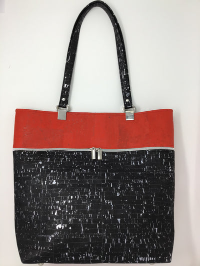 Red and Black Cork Tote with Silver Flecks