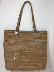 Natural Cork Tote with Silver Metallic