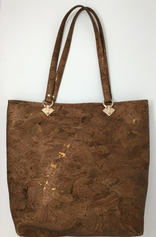 Bronze Cork Tote with Copper Metallic