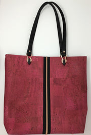 Pink and Black Cork Tote with Rose Gold