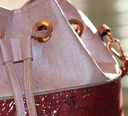 NEW Design! Rose and Wine Metallic Bucket Drawstring Crossbody Tote Bag