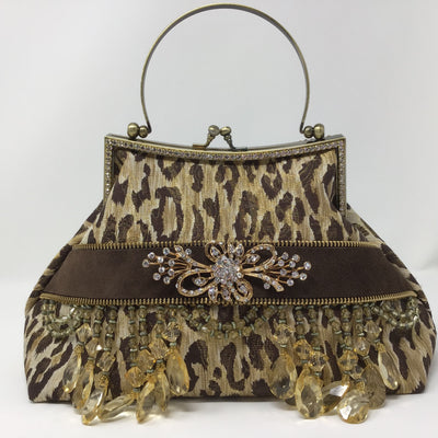 Brown and Cream Metallic Animal Print with Brown Suede Handbag