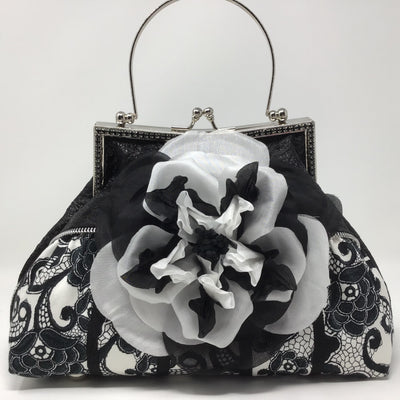 Black and White Flower, Black Metallic Handbag
