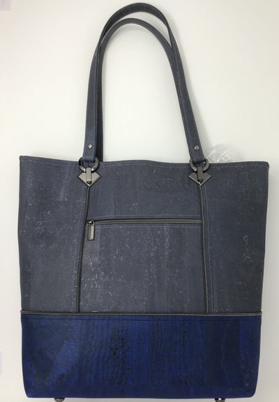 Gray and Denim Blue Cork Tote