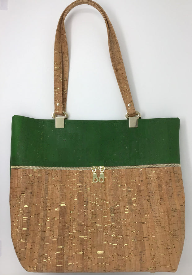 Green and Natural Cork Tote with Gold Metallic Flecks