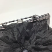Black Silk Flower Handbag