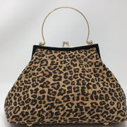 Leopard Print and Black Cork Handbag