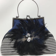NEW! Denim Houndstooth Feather Handbag