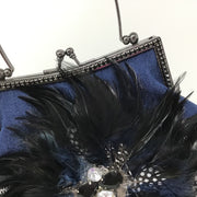 Denim Houndstooth Feather Handbag