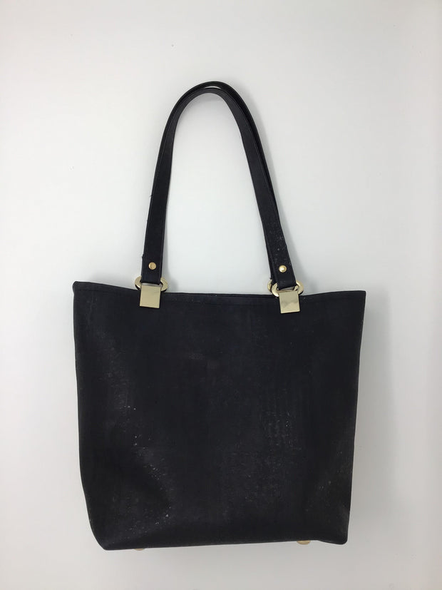 NEW SIZE! Black and Snakeskin Print Cork Tote - Medium
