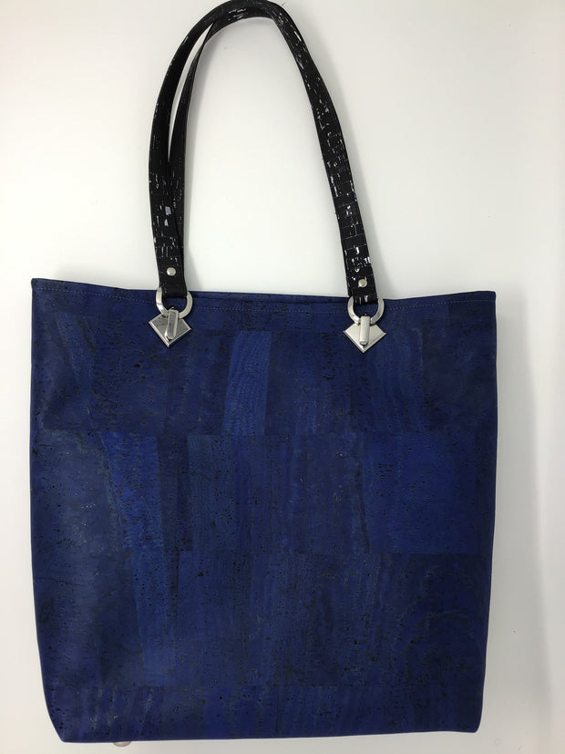 Black Silver Metallic and Blue Cork Tote