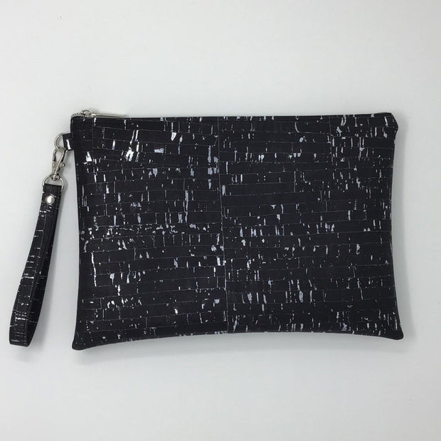 Black Silver Metallic Cork Pochette - Large
