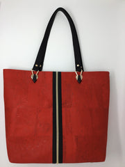 Red Black Cork Tote