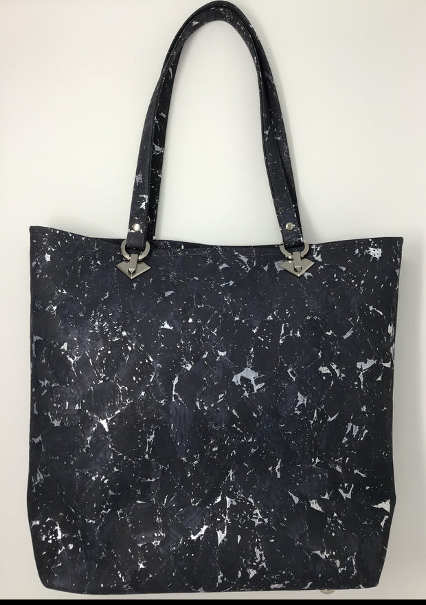 Gray Silver Metallic Cork Tote