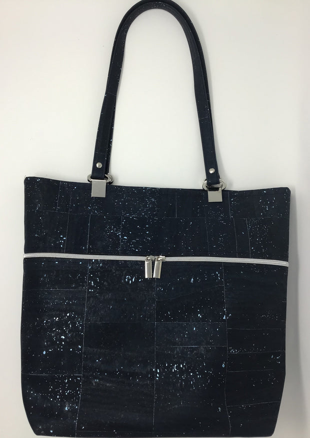 Blue Silver Metallic Cork Tote