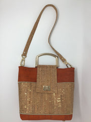 NEW Design! Orange and Natural Cork Tote - Medium