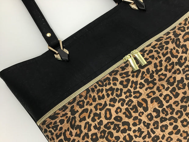 Black and Leopard Print Cork Tote