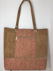 Tan and Pink Straw Cork Tote + Pochette