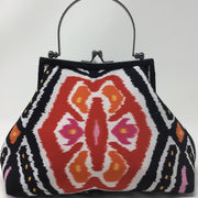 Black White Orange Ikat Handbag