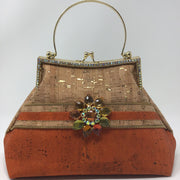 Orange Natural Cork Handbag