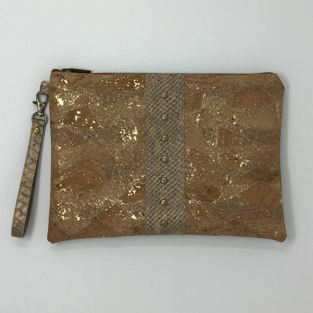 Gold Metallic Cork Pochette - Large