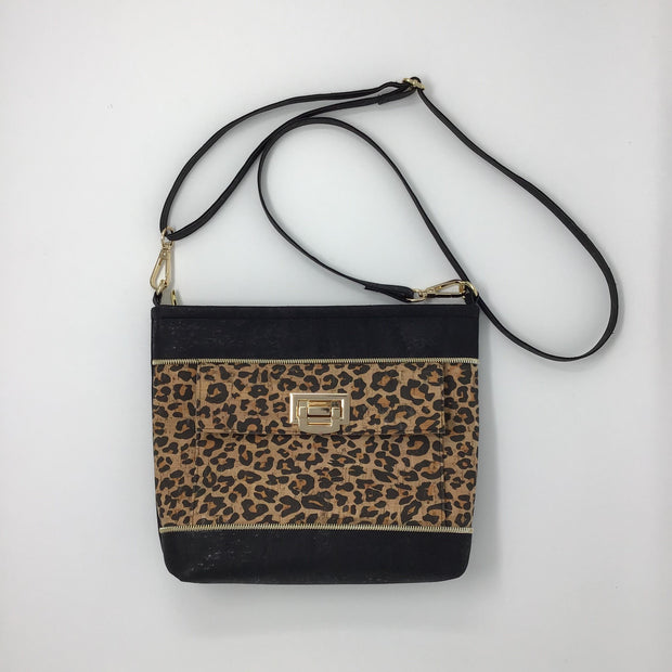 NEW Design! Black and Leopard Print Cork Crossbody