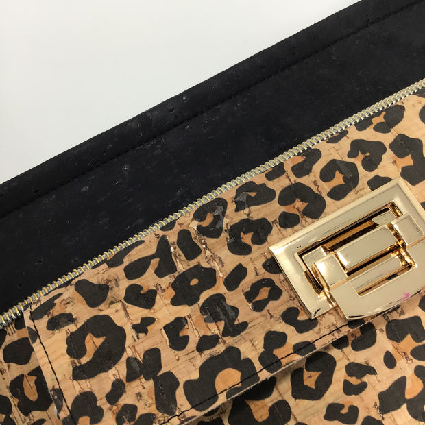 Black and Leopard Print Cork Crossbody