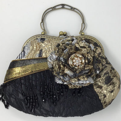Black, Gold and Silver Metallic Flower Handbag wih Metallic Leather