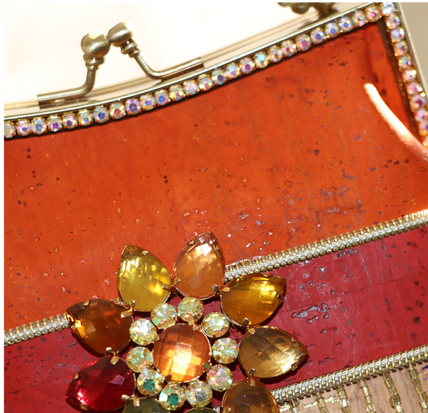 Orange Red Multi-Color Cork Handbag