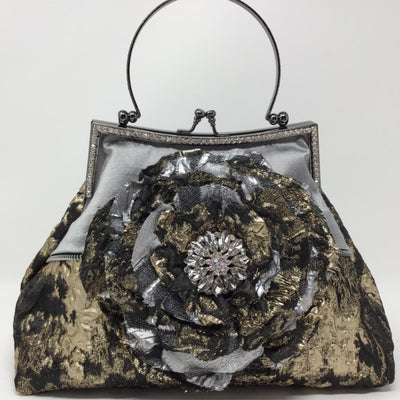 Black, Silver, Gold Metallic Flower Handbag