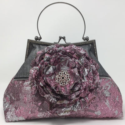 Embellished Metallic Pink/Silver and Gray Denim Handbag