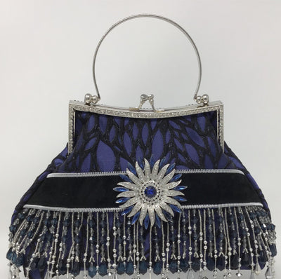Blue and Black Metallic  Silver Handbag with Black Suede