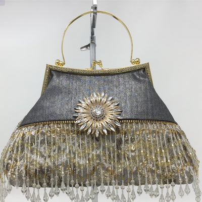 Silver and Gold Metallic Vintage-Inspired Handbag