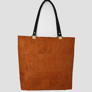 Black Brown and Leopard Print Cork Tote