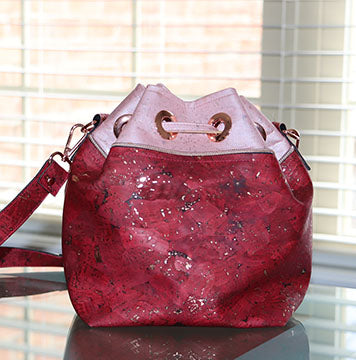 NEW Design! Rose and Wine Metallic Bucket Drawstring Bag
