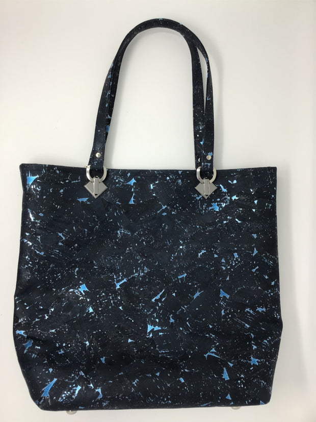Blue Metallic Cork Tote