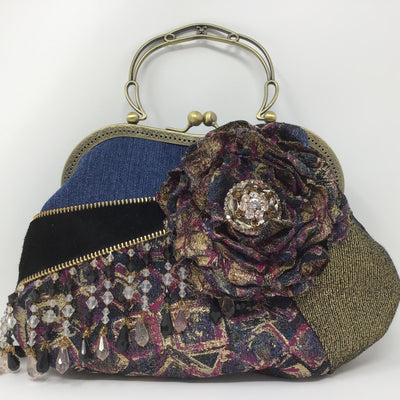 Gold and Navy Metallic Flower Denim Handbag wih Metallic Leather