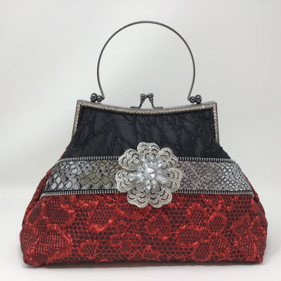 Black and Red Metallic Floral Handbag