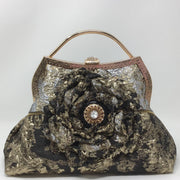 Black, Silver and Gold Flower Handbag