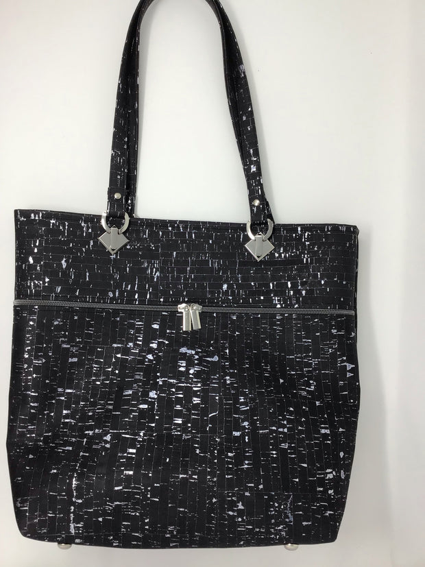 Black Cork Tote with Silver Metallic Flecks