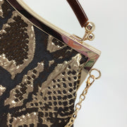 Cream, Silver, Brown Animal Print Handbag