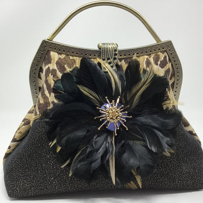 Black Feather and Brown Metallic Animal Print Feather Handbag