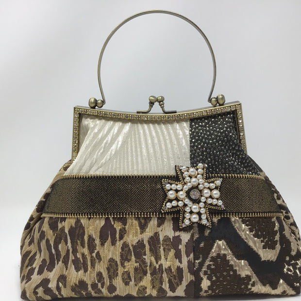 Brown Black Snake Skin & Leopard Print Handbag