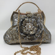 Silver and gold Metallic Flower Handbag with chain