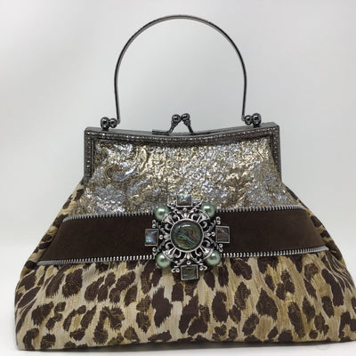 Silver and Brown Animal Print Metallic Handbag