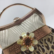 Cream, Brown and Black Animal Print Handbag