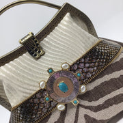 Cream and Brown Animal Print Handbag