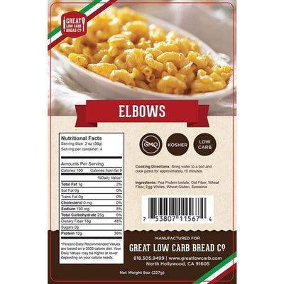 Great Low Carb Pasta Elbows - One Pack - Pasta