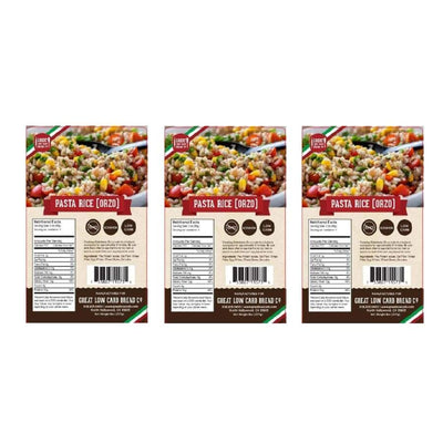 Great Low Carb Pasta Rice (Orzo) - 3-Pack - Pasta
