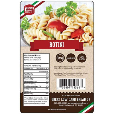 Great Low Carb Pasta Rotini - One Pack - Pasta